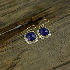 Rose Cut Lapis Lazuli and 18k Yellow Gold Earrings