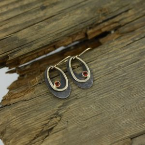Oxidized Sterling Silver 14K Yellow Gold Oval Earrings