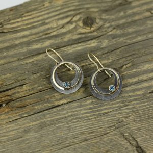 Oxidized Sterling Silver 14K Yellow Gold Round Earrings