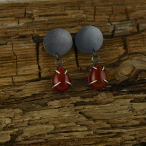 Oxidized Sterling Silver and Carnelian Tear Drop Earrings.