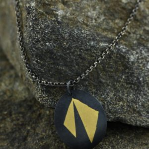 Black and Gold Keum Boo Oval Pendant