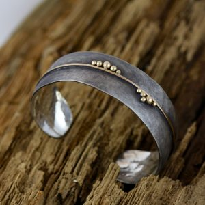 Oxidized Sterling Silver and 14k Yellow Gold Cuff Bracelet