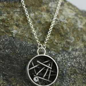 Oxidized Sterling Silver Circular Sticks Necklace