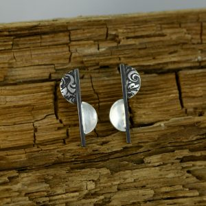 Etched Contrast Half Moon Earrings