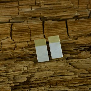 Brass and Sterling Silver Rectangle Studs
