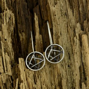 Oxidized Sterling Silver Circular Stick Earrings