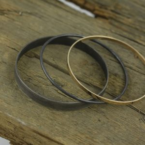 Oxidized Sterling Silver and 14K Yellow Gold Bangles